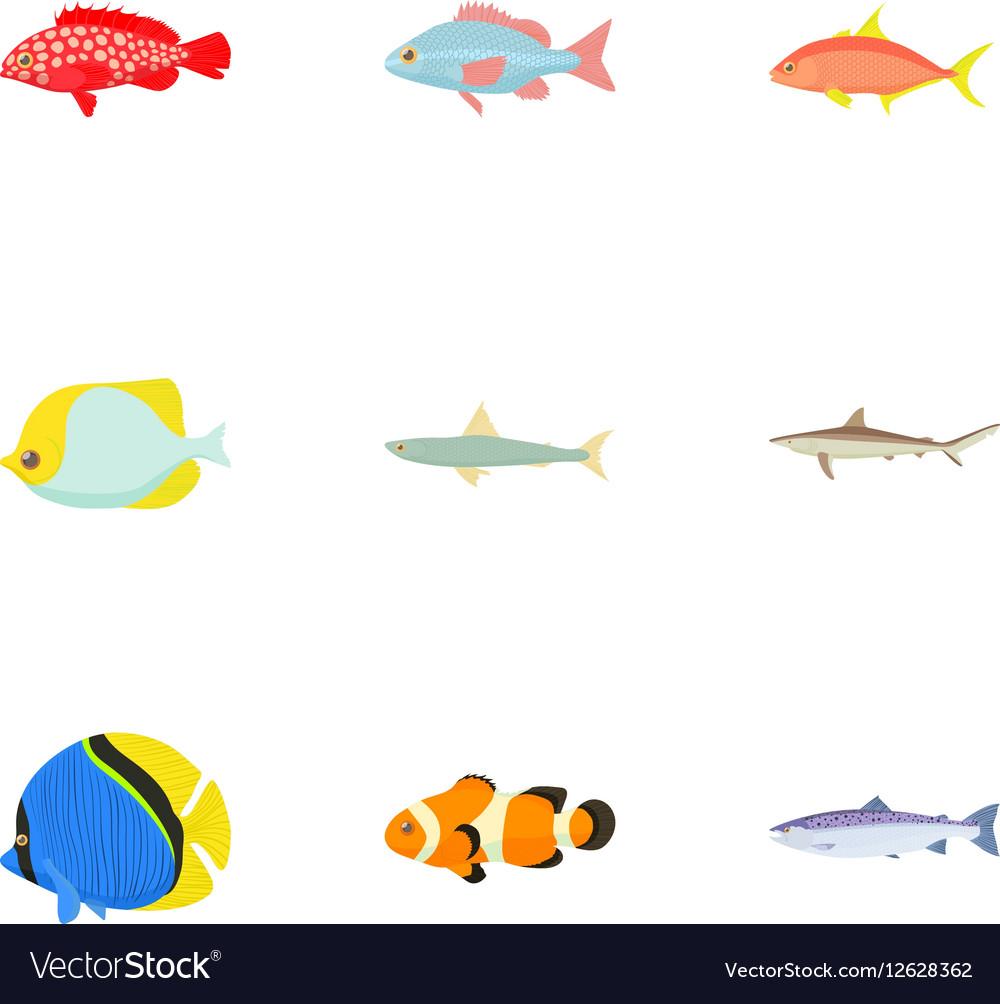 Ocean fish icons set cartoon style