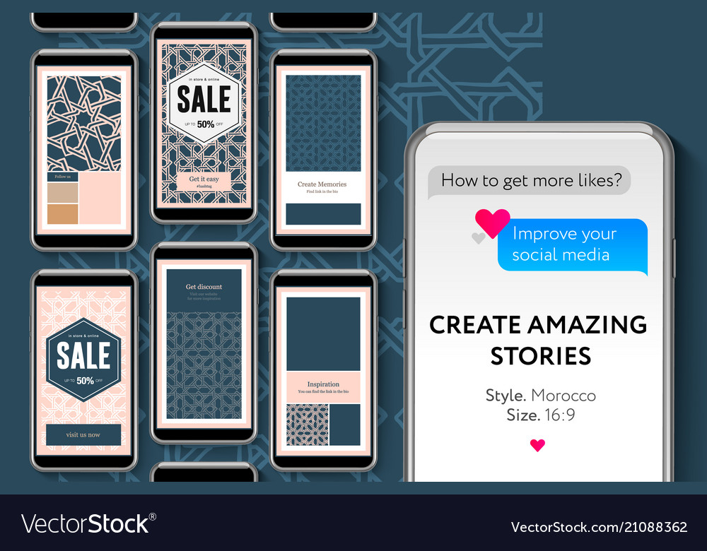 Social Media Story Templates For Brands And Vector Image
