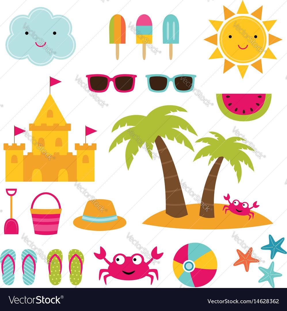 Summer beach design elements