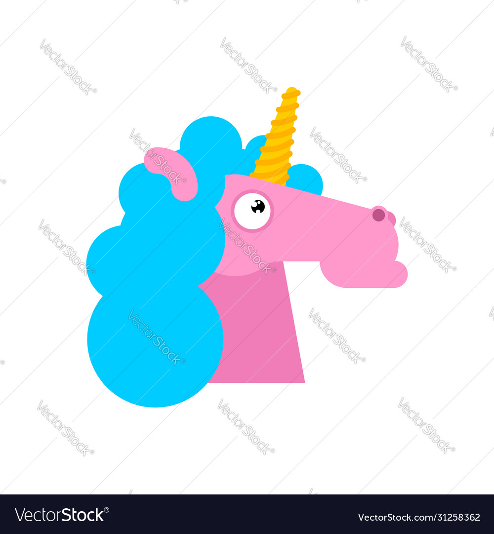 Unicorn Head Isolated Magic Horse With Horn On Vector Image