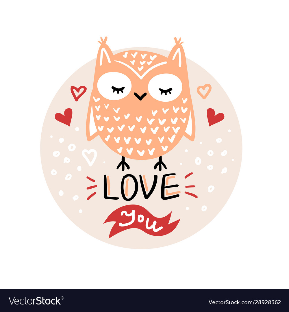 Valentines day with cute cartoon owl