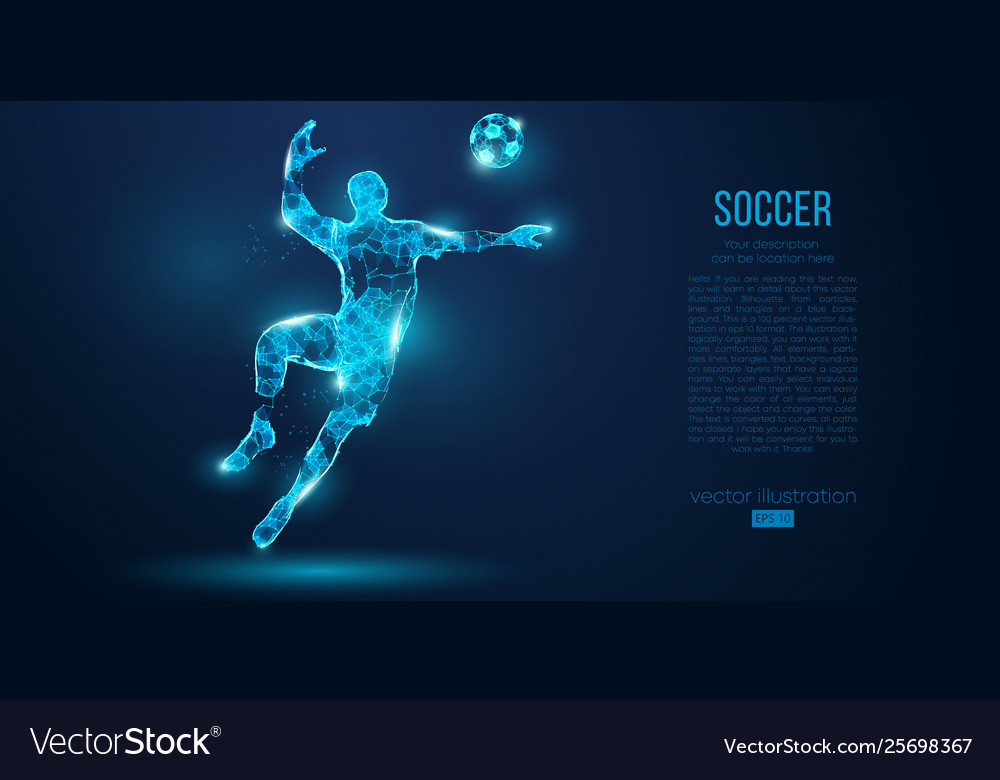 Abstract soccer player footballer blue background