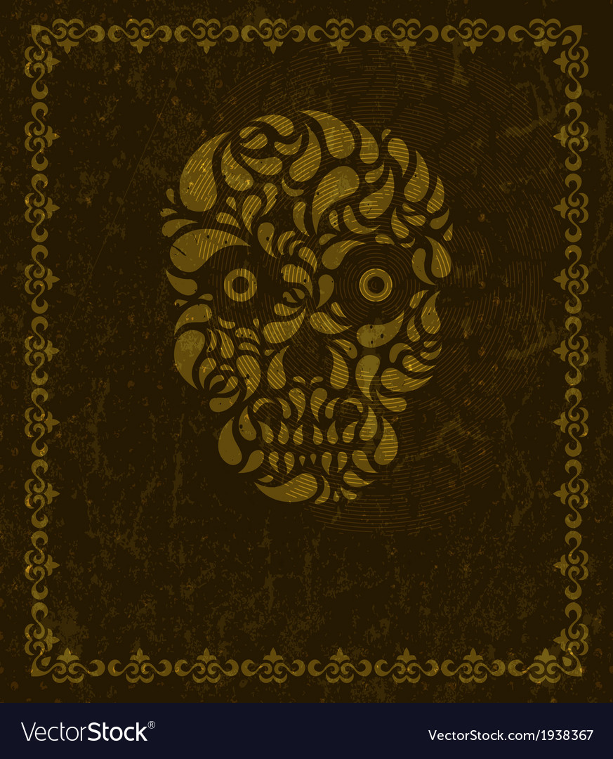 Background with skull and frame vector image