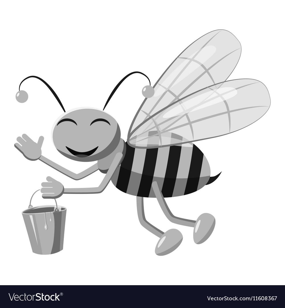 Bee with bucket honey icon gray monochrome style