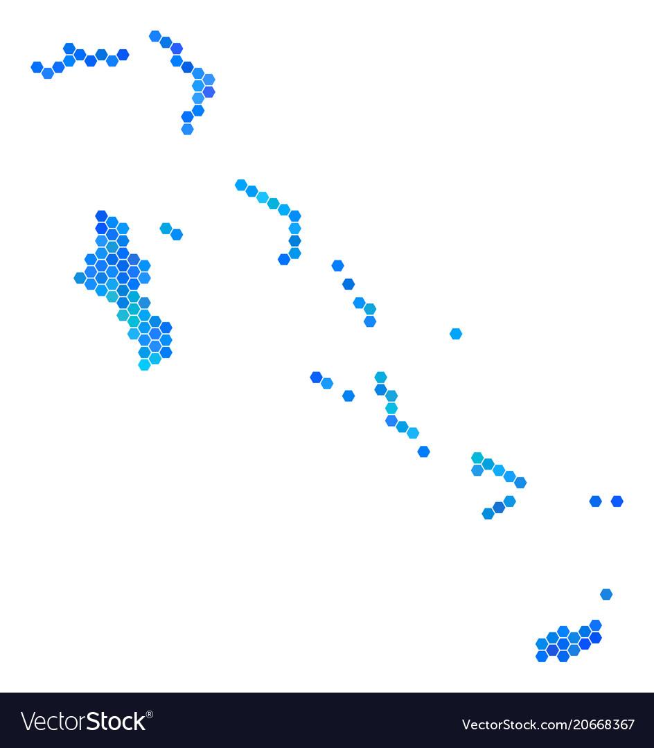 Blue hexagon bahamas islands map Royalty Free Vector Image