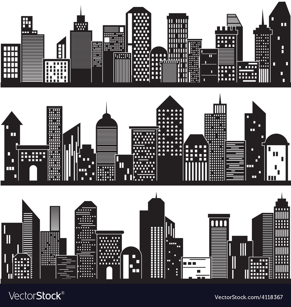 Cityscapes and Building Silhouettes Design vector image