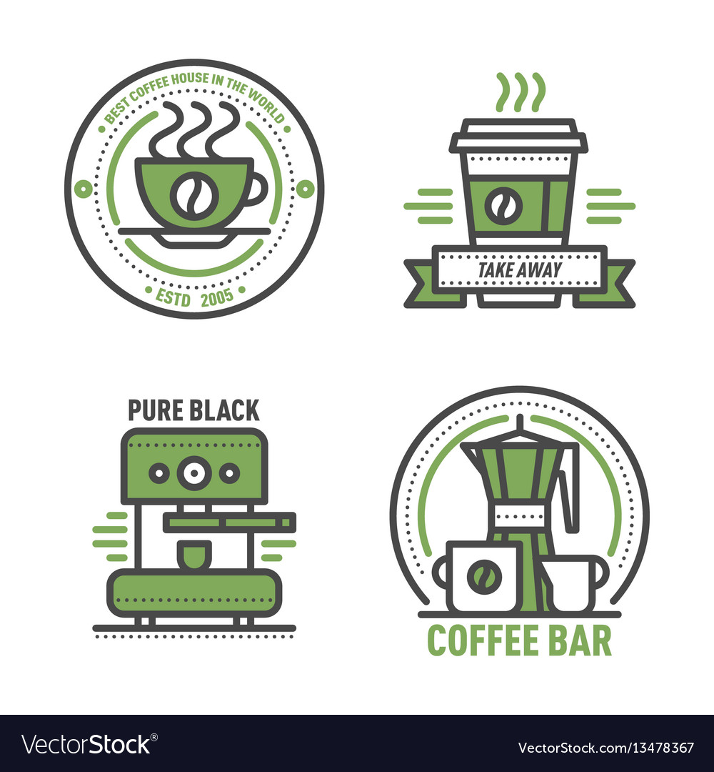 Coffee badge logo food design thin line lettering