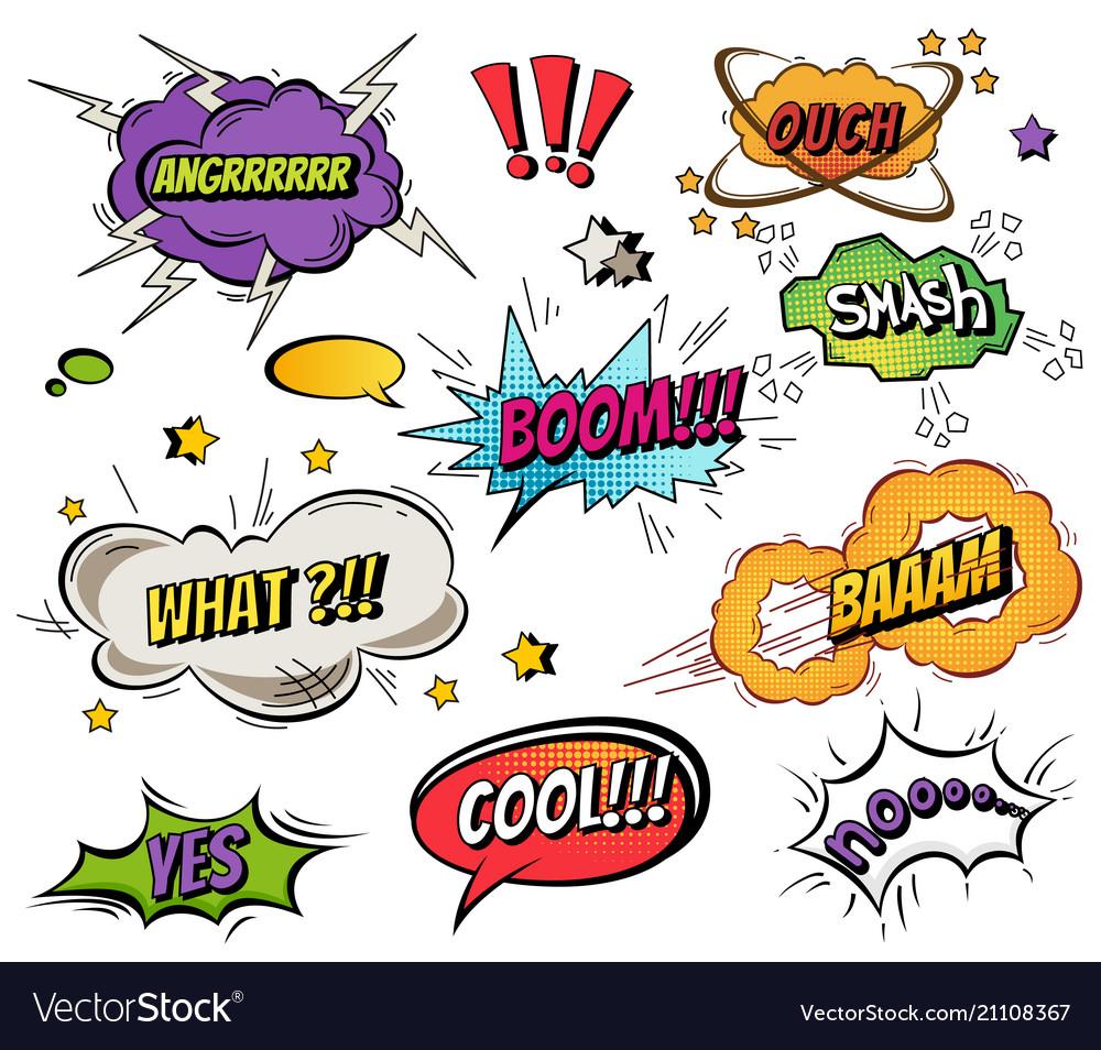 Comic speech bubbles and splashes set