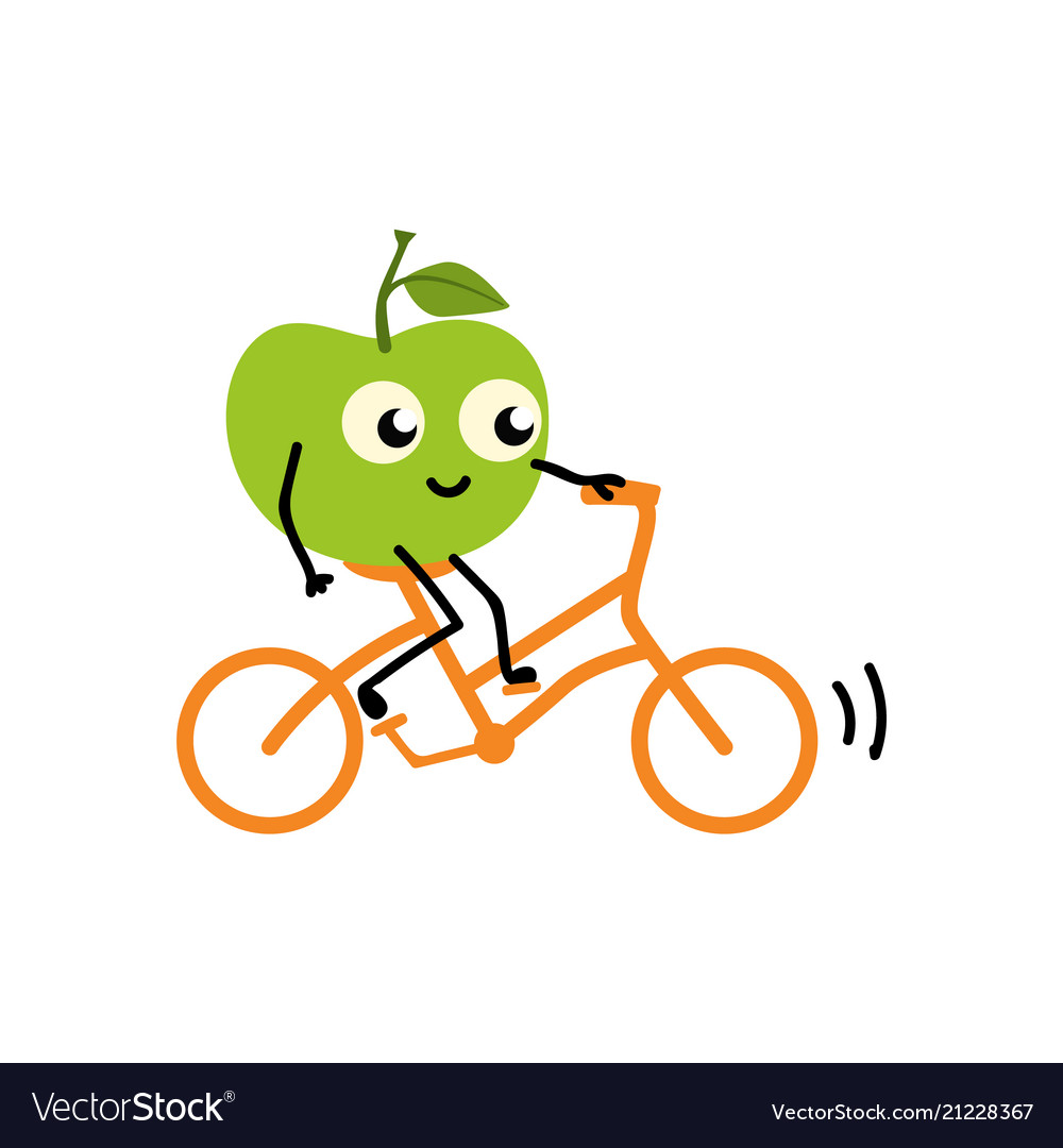 Doing sport fruit - green fresh ripe apple riding