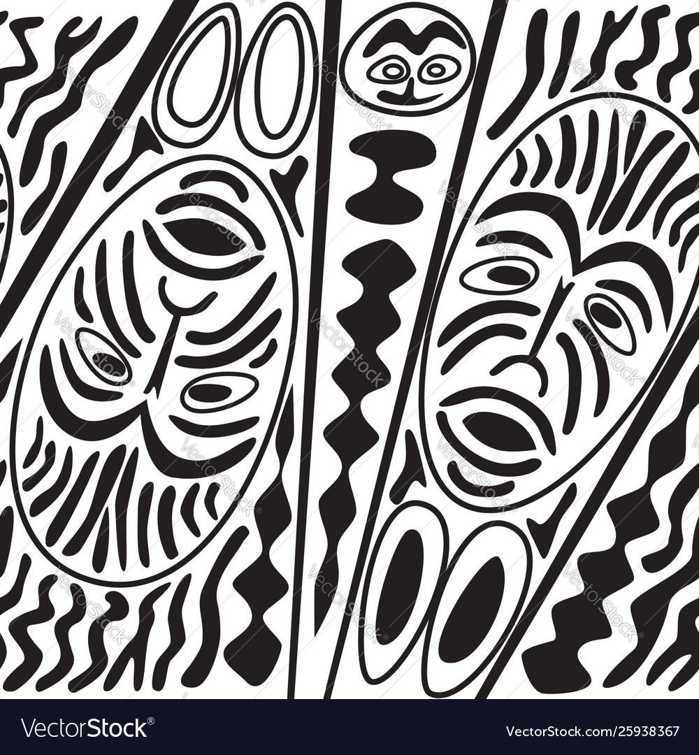 Ethnic seamless pattern tribal style african mask