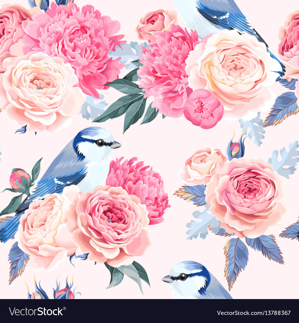 Flowers and birds seamless
