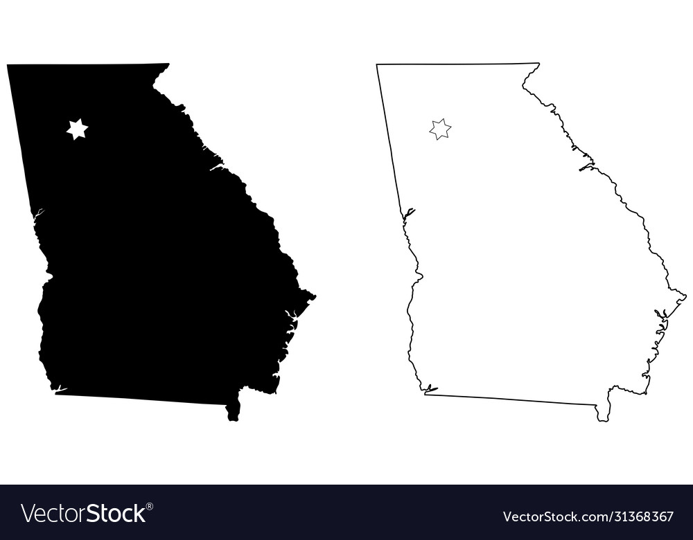 Georgia ga state map usa with capital city star