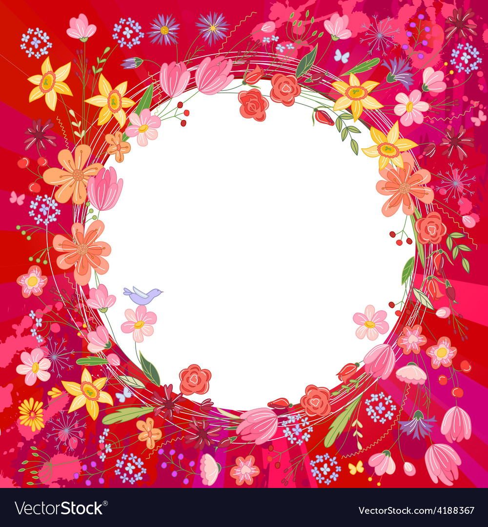 Greeting card with wreath of different flowers