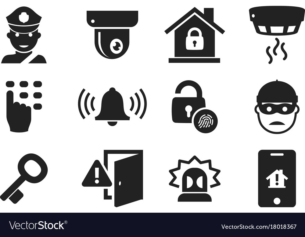 Home security icon set 01 Royalty Free Vector Image