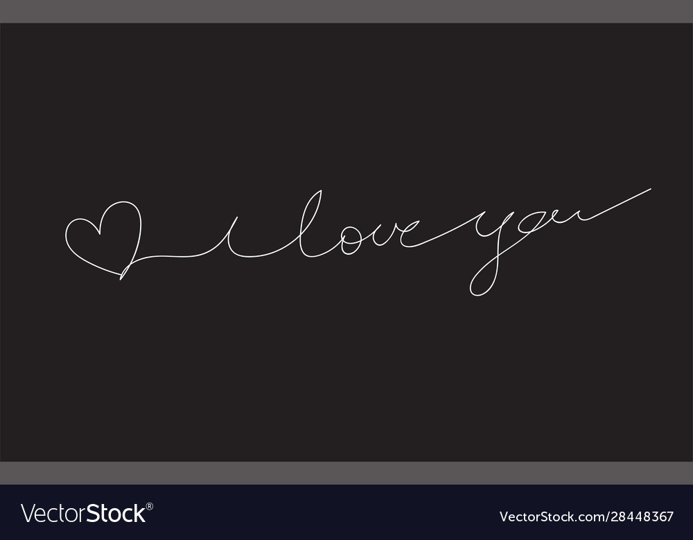 Download I love you a continuous line with black background