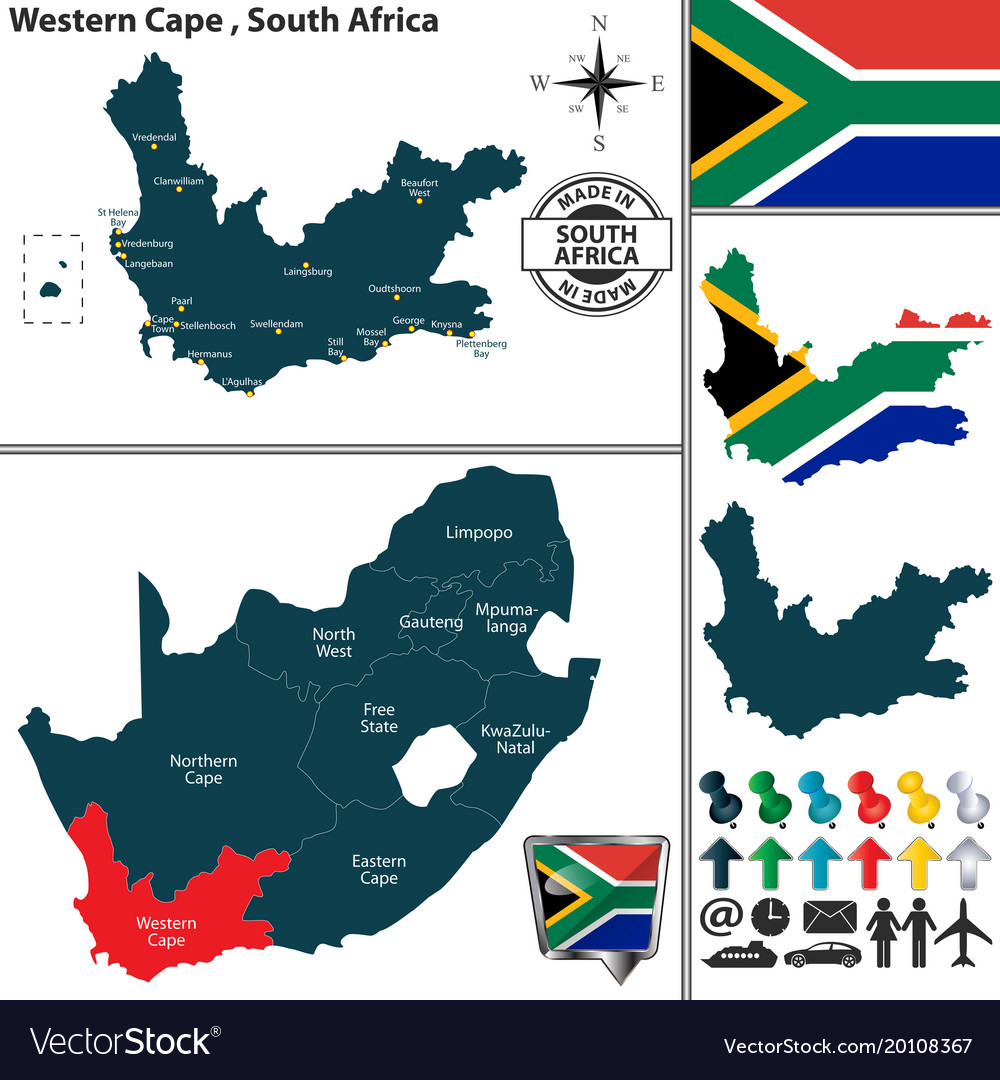 Map Of Western Cape South Africa Royalty Free Vector Image