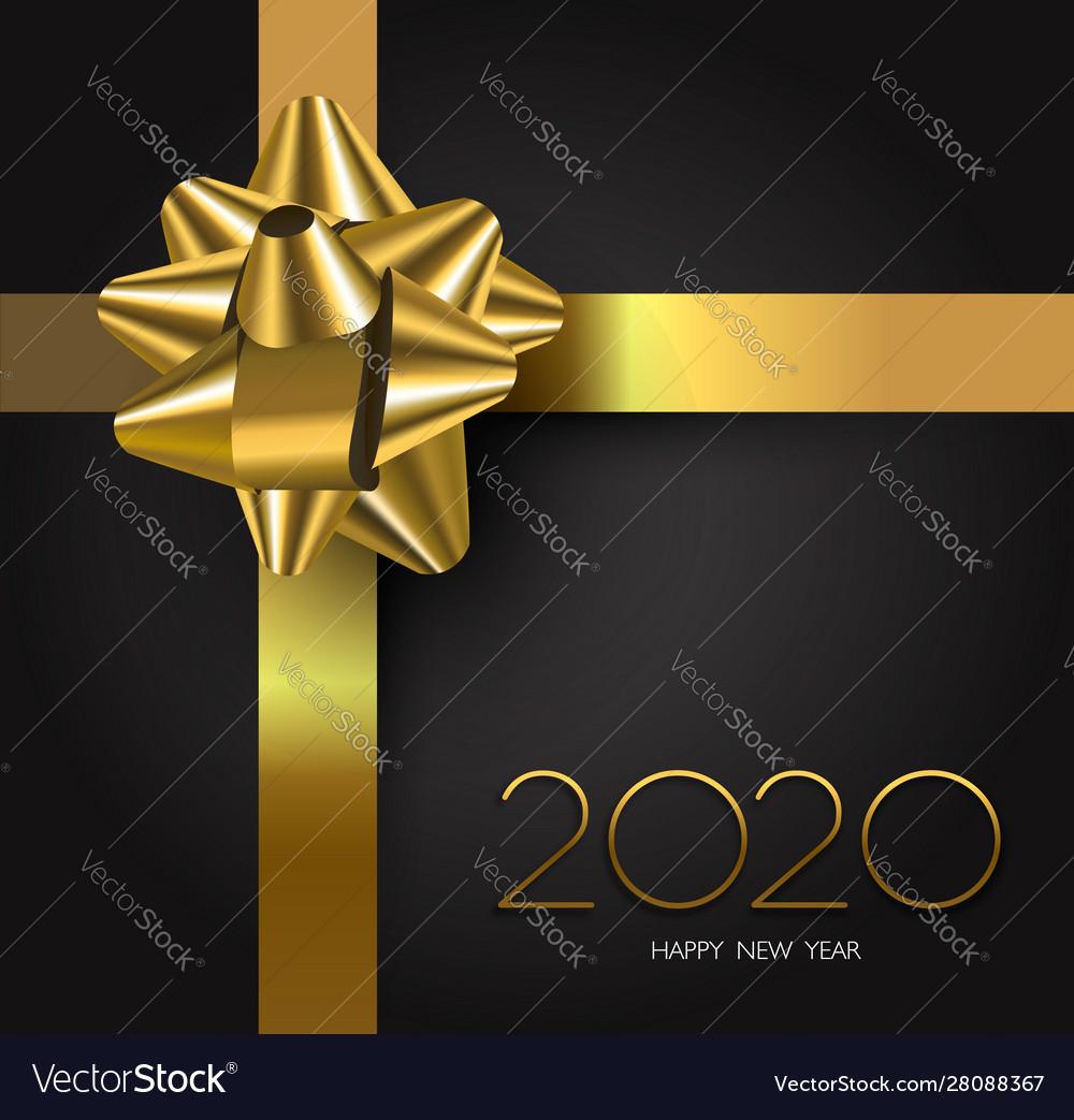 New year 2020 gold black gift box ribbon card