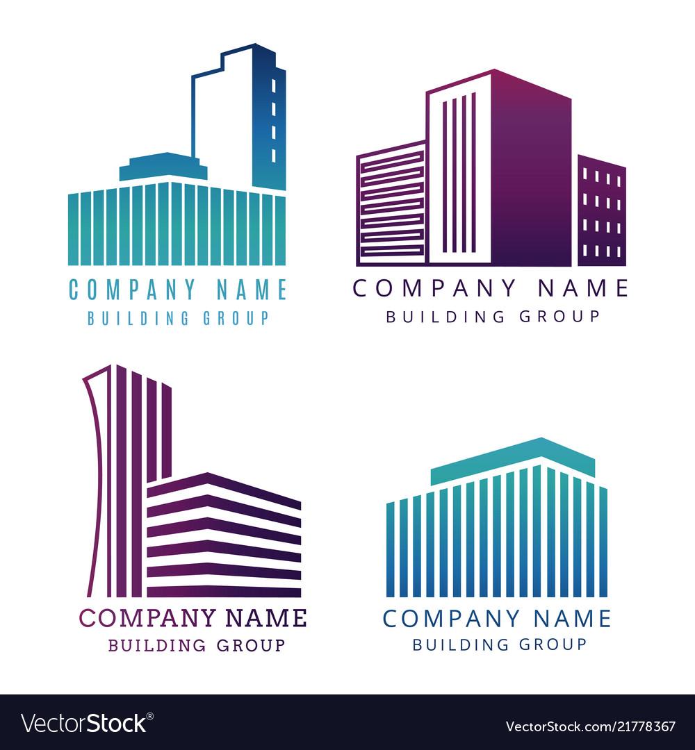 Real estate construction company logo set
