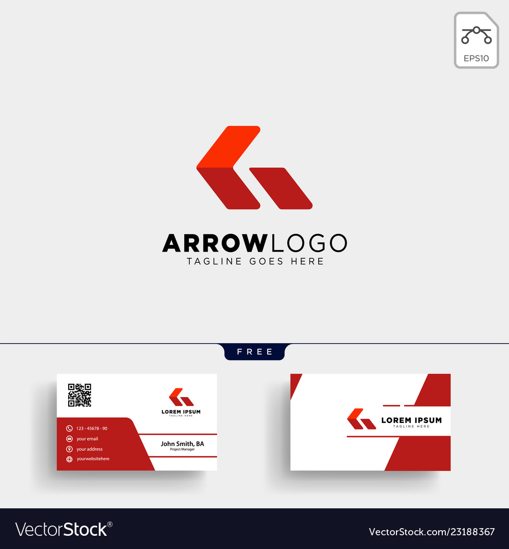 Red arrow logo template and business card