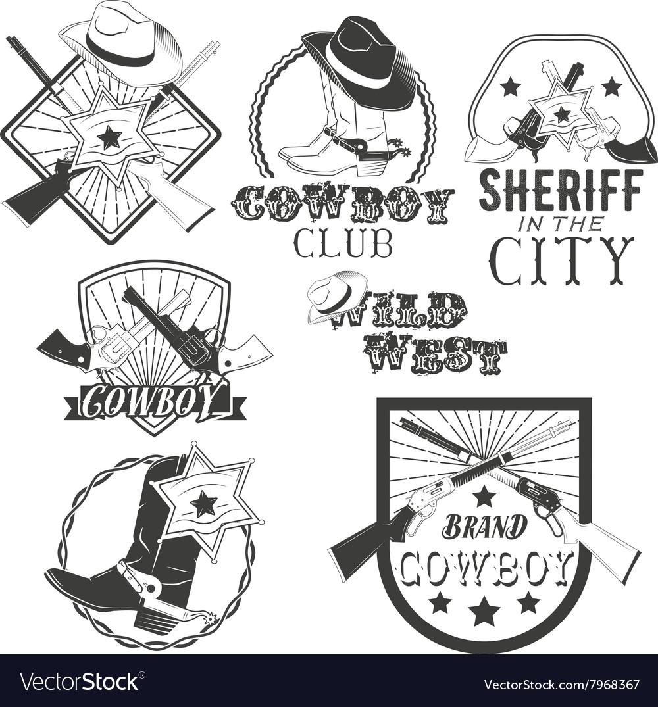 Set cowboy labels in vintage style wild