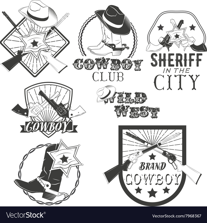 Set of cowboy labels in vintage style Wild