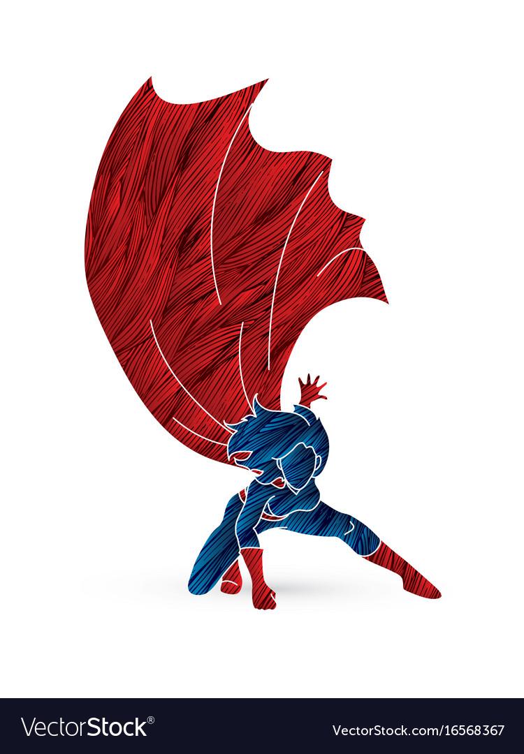 strong woman superhero landing powerful action vector image