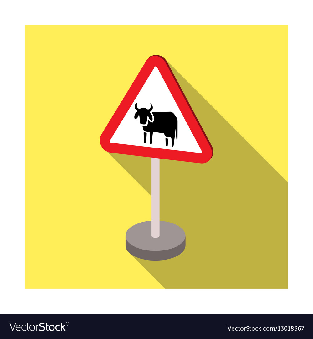 Warning road sign icon in flat style isolated on