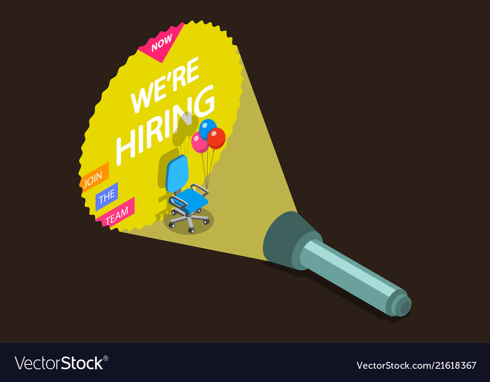 We are hiring flat isometric concept