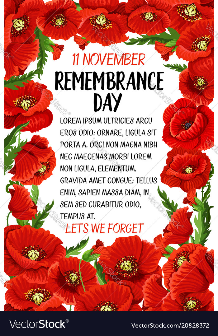 11 November Remembrance Day Poppy Card Royalty Free Vector
