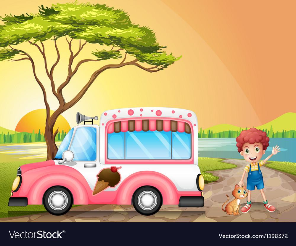 A boy with a cat beside an icecream truck vector image
