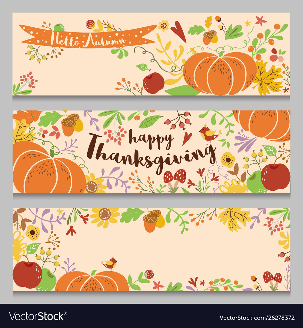 Autumn banners set horizontal three templates in