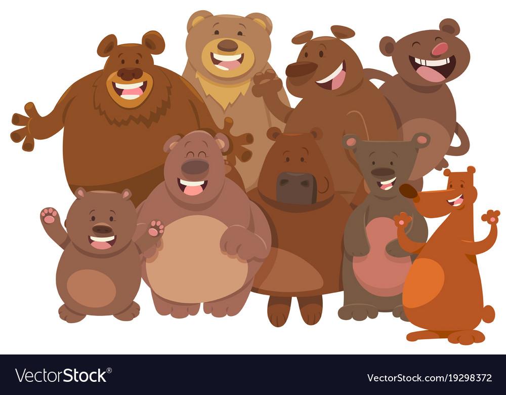 Cartoon wild bears animal characters group