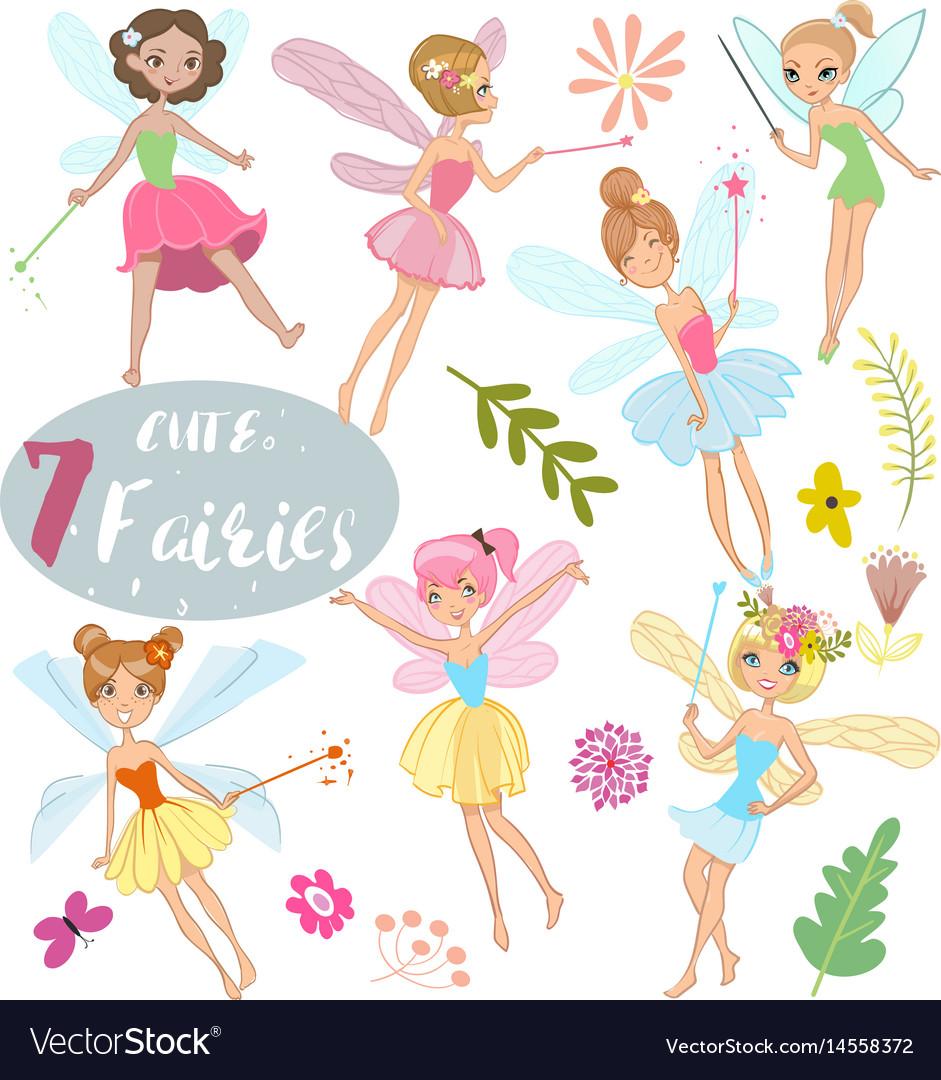 Cute cartoon fairies vector image