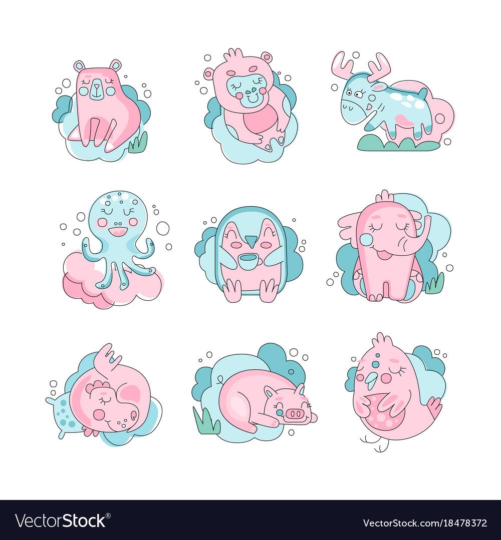 Cute funny cartoon baby animals sleeping set vector image voltagebd Image collections