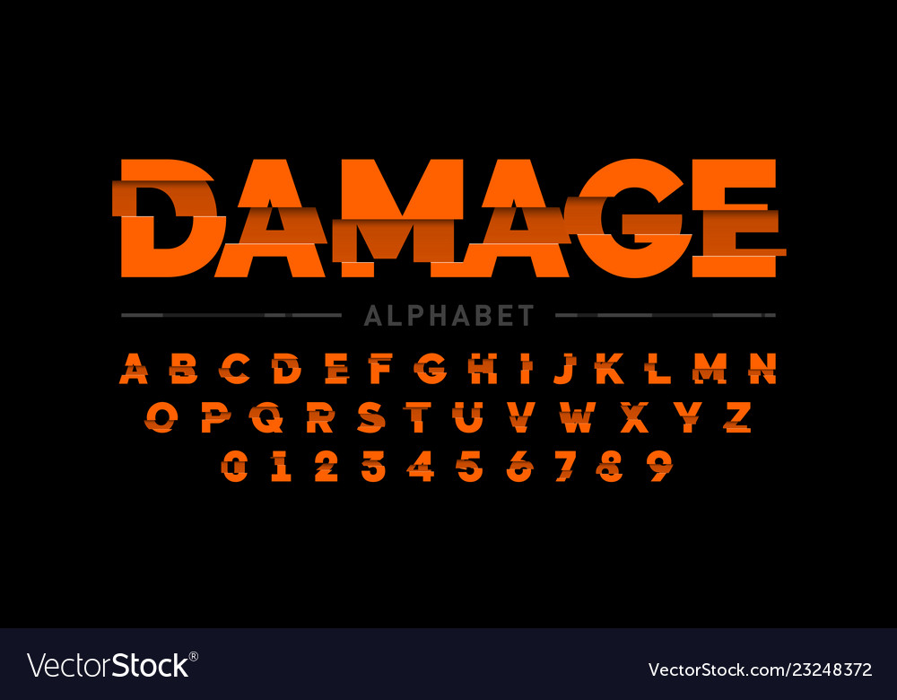 Damaged font design alphabet letters and numbers