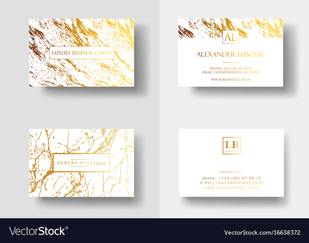 Elegant business cards with marble texture and