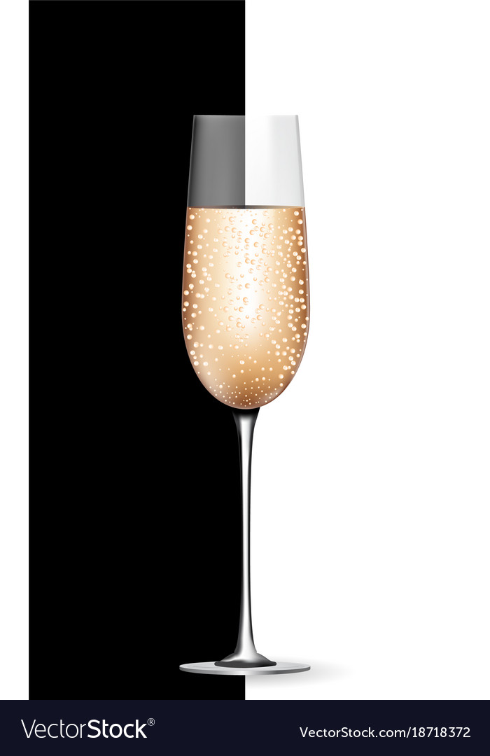 Empty champagne glass on black and white vector image