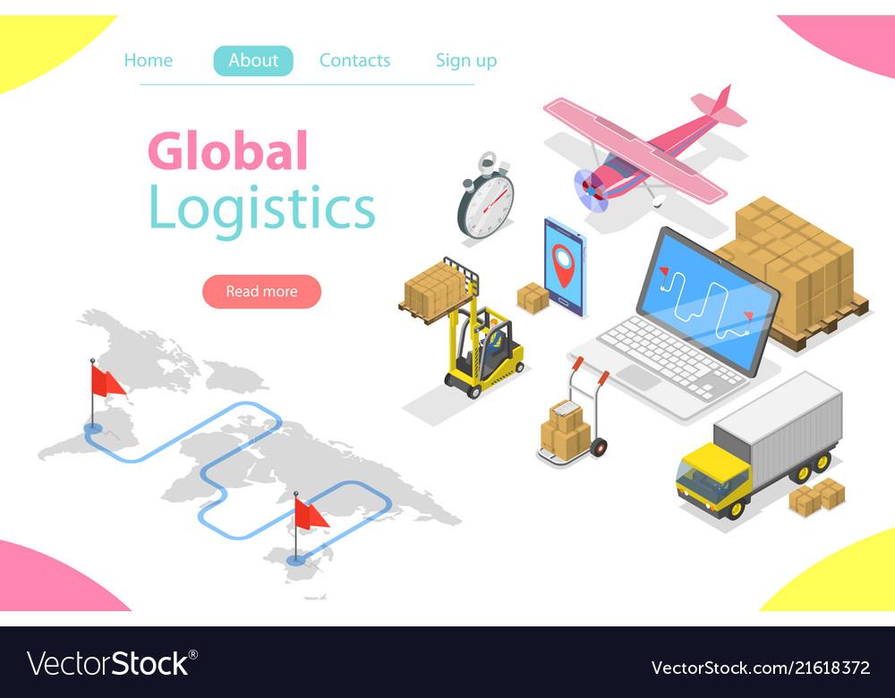 Flat isometric concept of global logistics