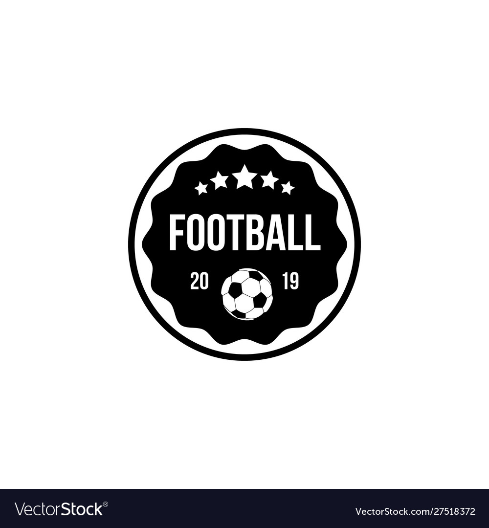 Football badge in a circle and shield with ball