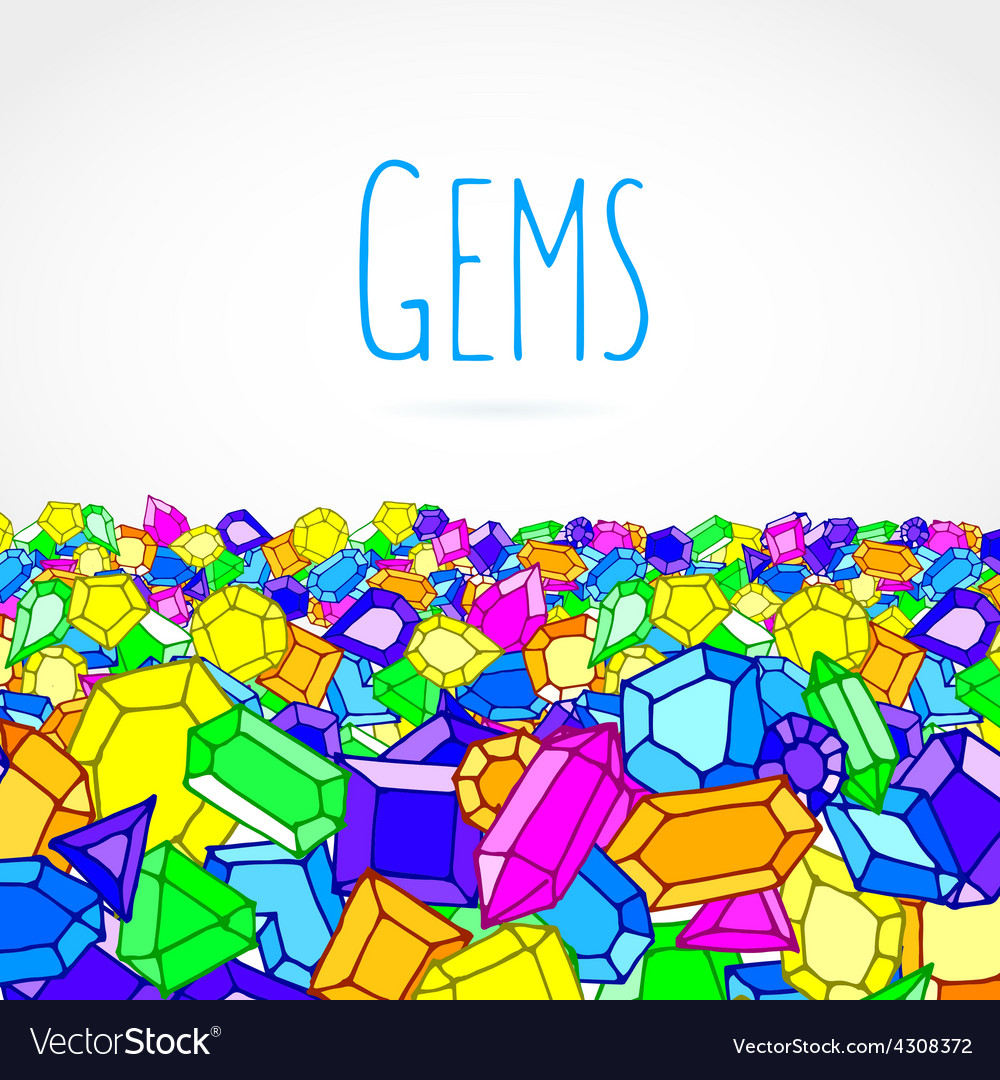 Hand drawn doodle gems vector image