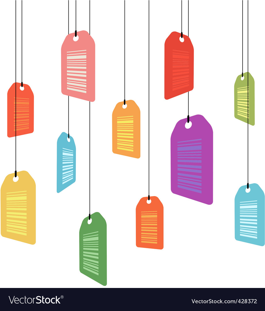 Hanging price tags with barcodes vector image
