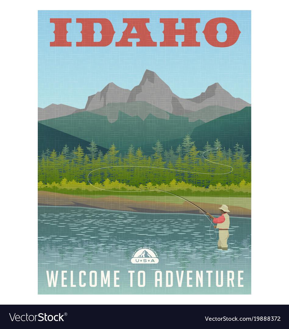 Idaho travel poster fly fishing vector image