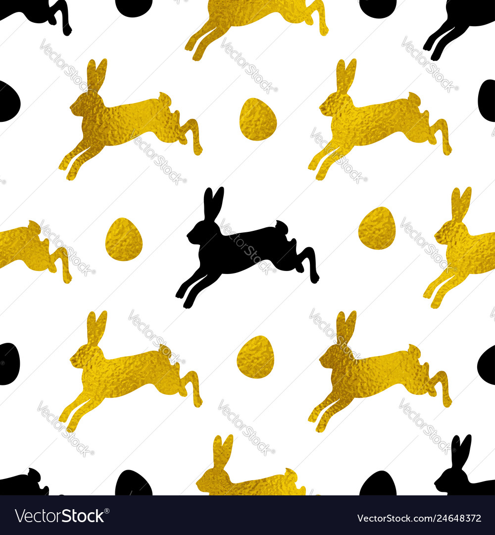 Pattern with golden and black rabbits