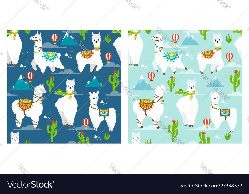 Pattern with llama alpaca mountain