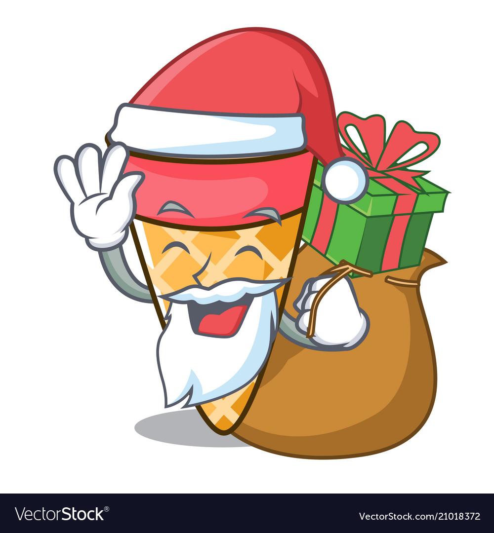 Santa with gift ice cream tone mascot cartoon