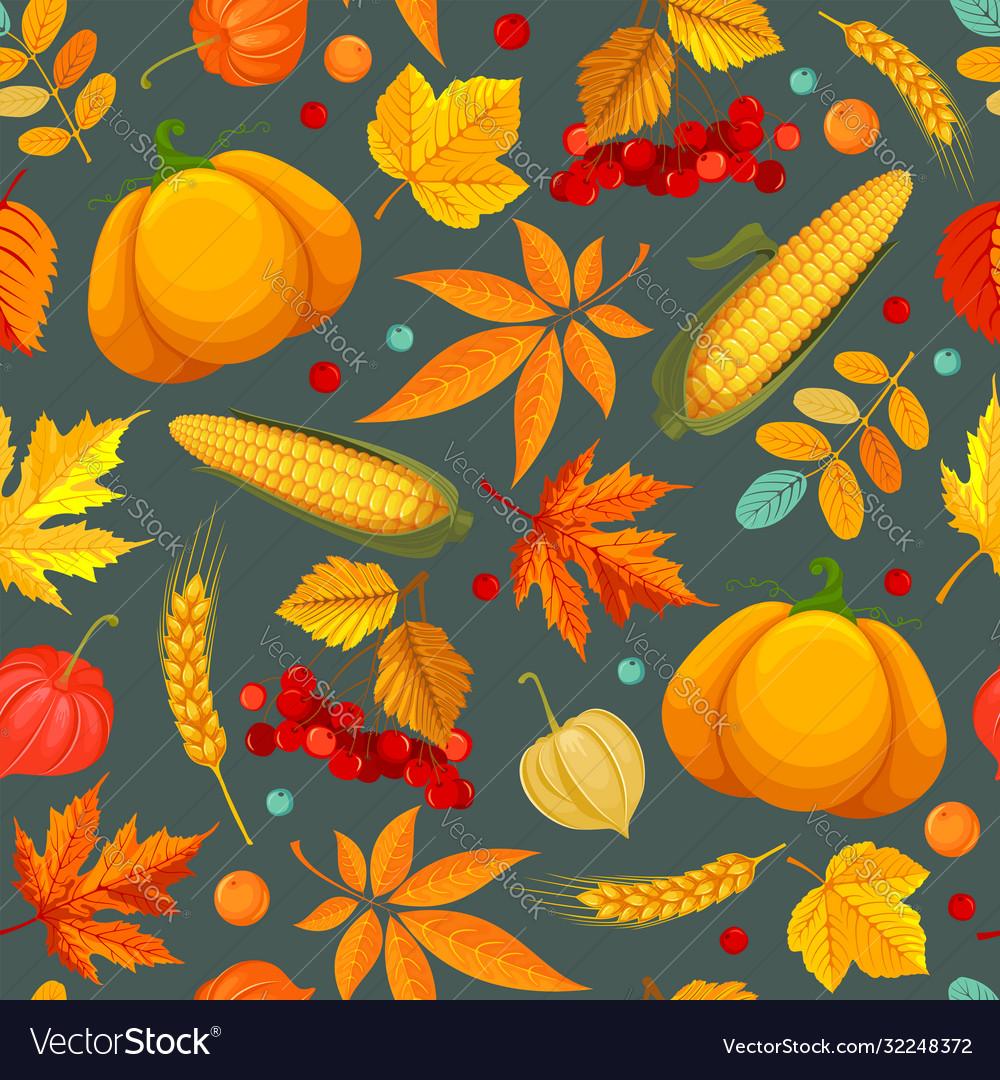 Seamless pattern with autumn leaves pumpkin corn
