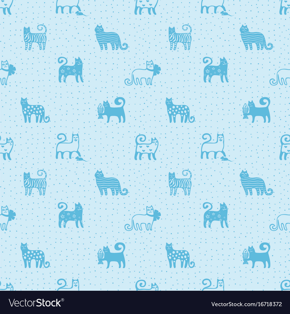 Seamless pattern with cute funny cats textile