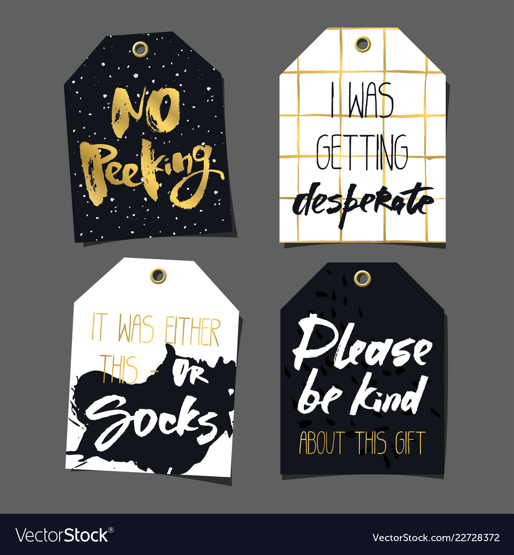Set of 8 funny gift tags lettering and doodles