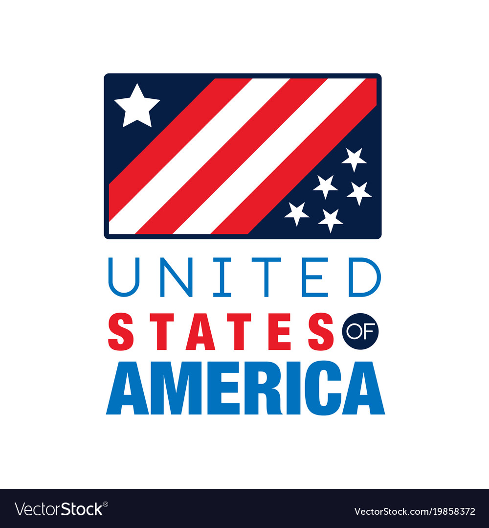 Usa Logo Template With National Flag United Vector Image