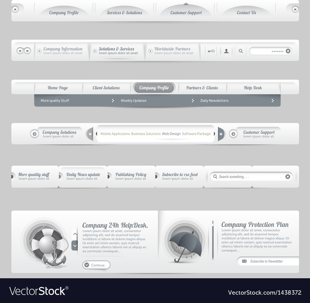 Web site design menu